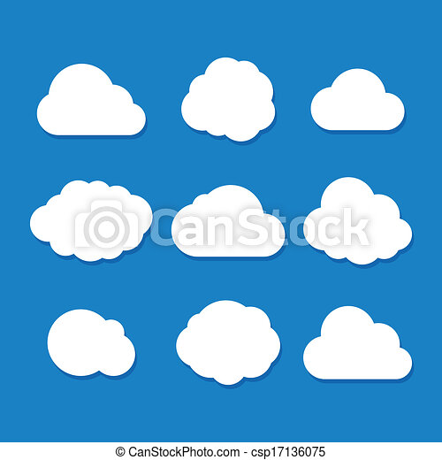 Cartoon Style Cloud Set. Vector - csp17136075