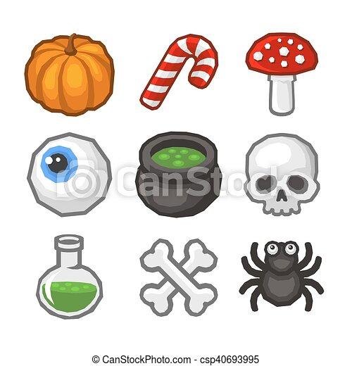Cartoon style Halloween Icon Set. Vector - csp40693995