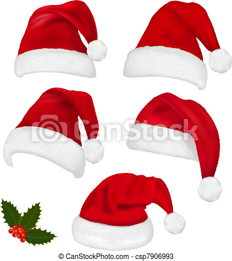 Collection of red santa hats - csp7906993