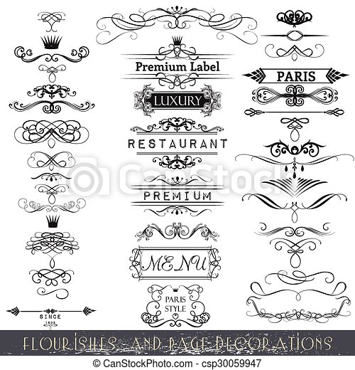 Collection of vector calligraphic elements and page decorations - csp30059947
