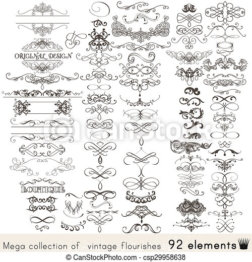 Collection of vector calligraphic elements and page decorations - csp29958638