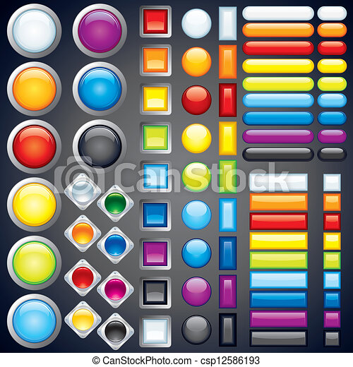 Collection of Web Buttons, Icons, Bars. Vector Image - csp12586193