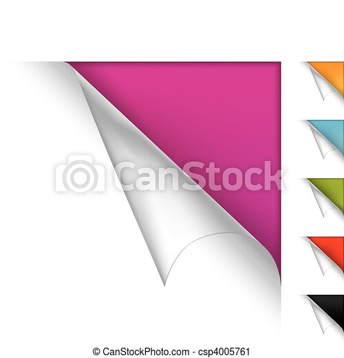 Colorful vector page curled corners - csp4005761