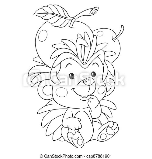 Coloring page with hedgehog - csp87881901