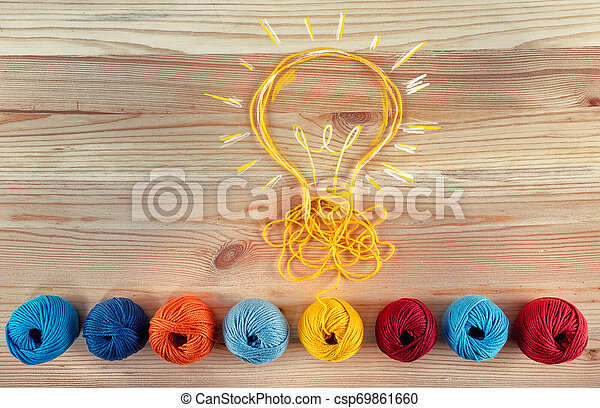 Concept of idea and innovation with wool ball. - csp69861660