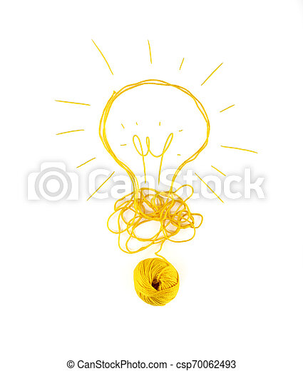 Concept of idea and innovation with wool ball. - csp70062493