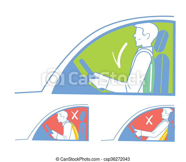 Correct and incorrect position in the car - csp36272043
