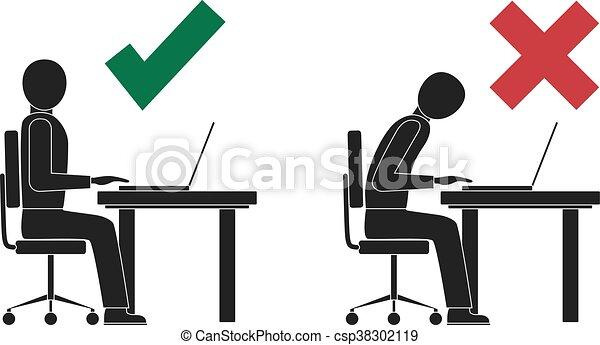 Correct and incorrect sitting posture at computer. - csp38302119