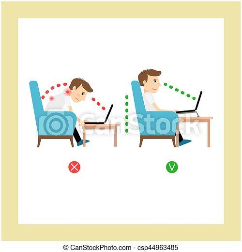 Correct sitting, laptop use position - csp44963485