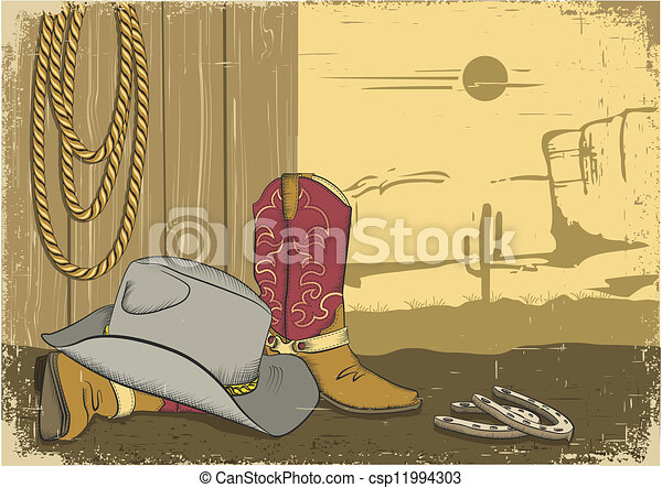 Cowboy background with american clothes. Vintage western image - csp11994303