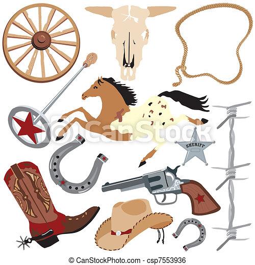 Cowboy clip art elements - csp7553936