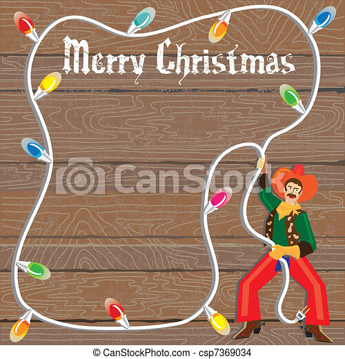 Cowboy with Christmas Lights Lasso - csp7369034