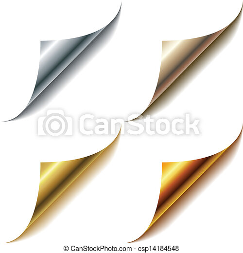 Curled metallic page corners set isolated on white. - csp14184548