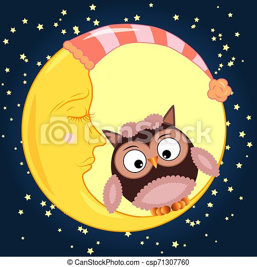 Cute cartoon owl sitting on a round dormant crescent moon in the night sky with stars - csp71307760
