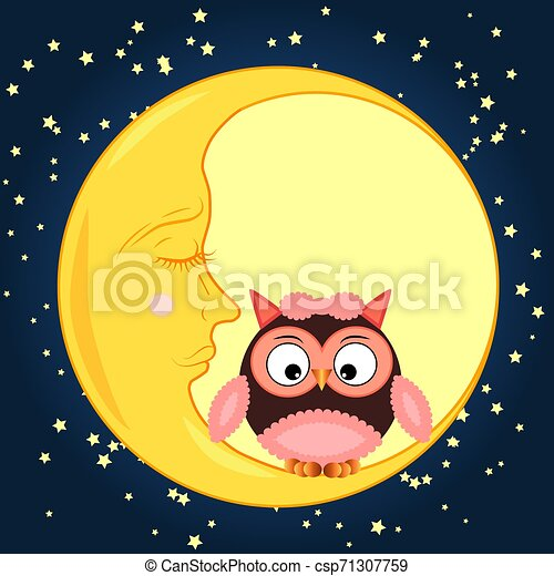 Cute cartoon owl sitting on a round dormant crescent moon in the night sky with stars - csp71307759