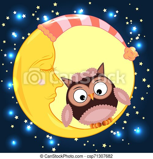 Cute cartoon owl sitting on a round dormant crescent moon in the night sky with stars - csp71307682