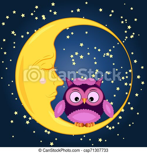 Cute cartoon owl sitting on a round dormant crescent moon in the night sky with stars - csp71307733