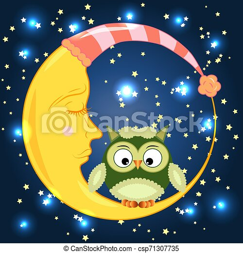 Cute cartoon owl sitting on a round dormant crescent moon in the night sky with stars - csp71307735