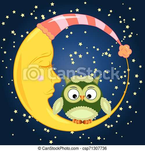 Cute cartoon owl sitting on a round dormant crescent moon in the night sky with stars - csp71307736