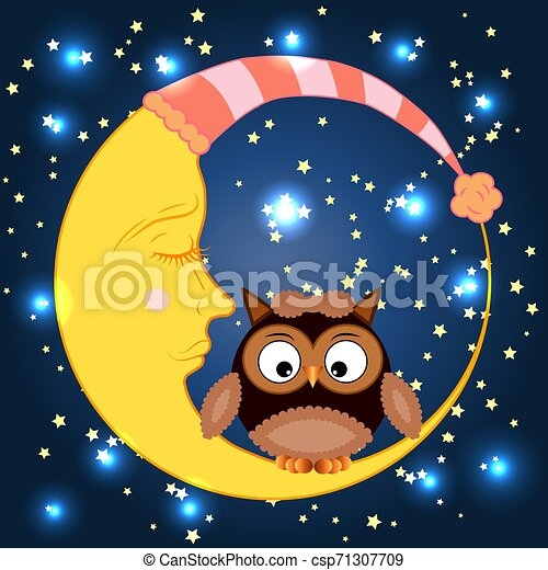 Cute cartoon owl sitting on a round dormant crescent moon in the night sky with stars - csp71307709
