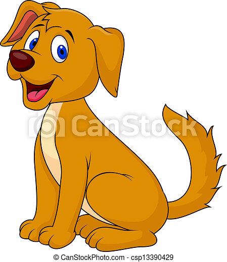 Cute dog cartoon sitting - csp13390429