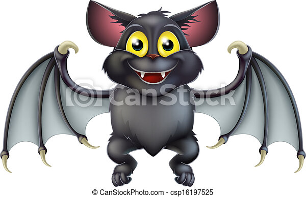 Cute Halloween Bat Cartoon - csp16197525