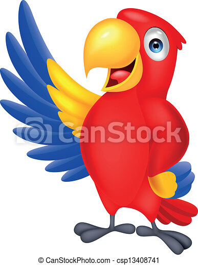 Cute macaw bird waving - csp13408741