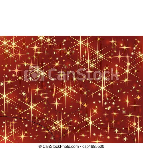 Dark red background with glowing and sparkling stars. - csp4695500