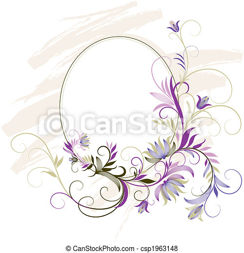 Decorative Frame With Floral Ornament - csp1963148