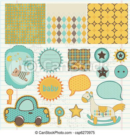 Design elements for baby scrapbook - csp6270975