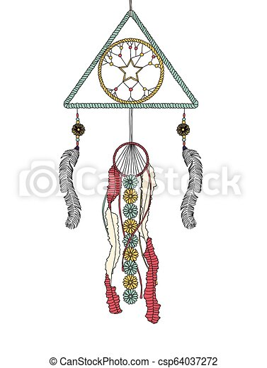 Dream catcher made from feathers, beads and flowers - csp64037272
