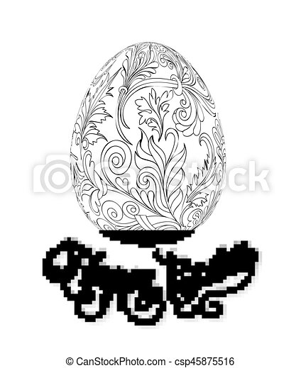 Easter egg with pattern in zentangle style. Coloring book for adult and older children. Coloring page. Outline drawing. Vector illustration. Template for hand made card. - csp45875516
