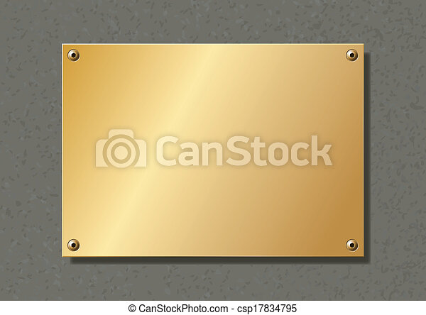 editable brass company plate fixed with allen screws - csp17834795