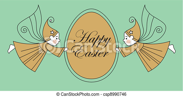 elves with easter egg - csp8990746