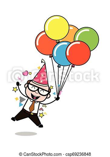 Enjoying Birthday Party - Retro Cartoon Father Old Boss Vector Illustration - csp69236848