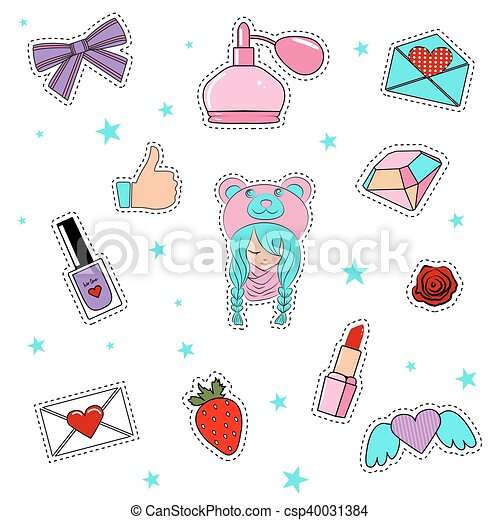 Fashion patch badges with lips, hearts, cute girl and other elements. - csp40031384