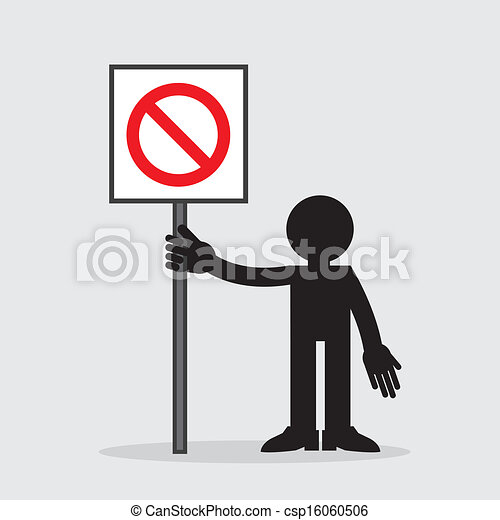 Figure Holding Blank Sign - csp16060506