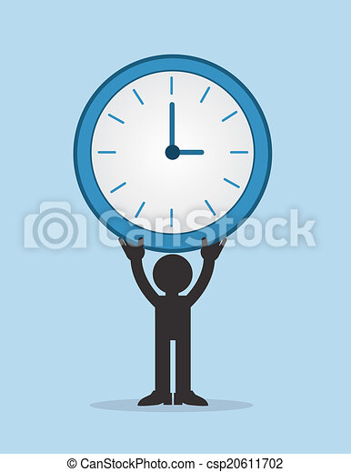 Figure Holding Large Clock - csp20611702
