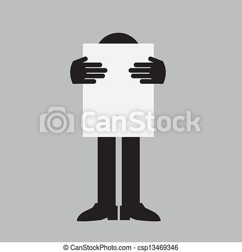Figure Holding Sign - csp13469346