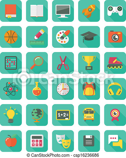 Flat Education and Leisure Icons - csp16236686