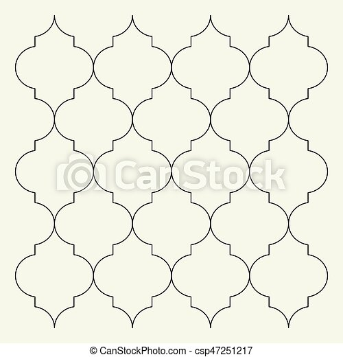 Flat outline moroccan pattern. Tile template - csp47251217