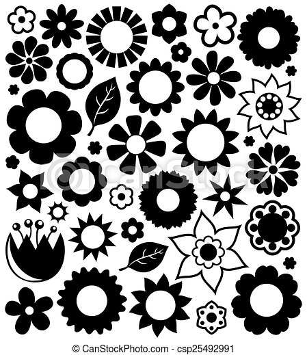 Flower silhouettes collection 1 - csp25492991