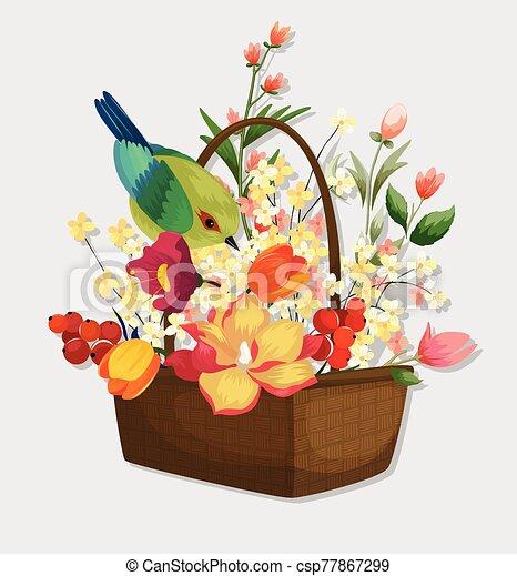 Flowers and birds - csp77867299
