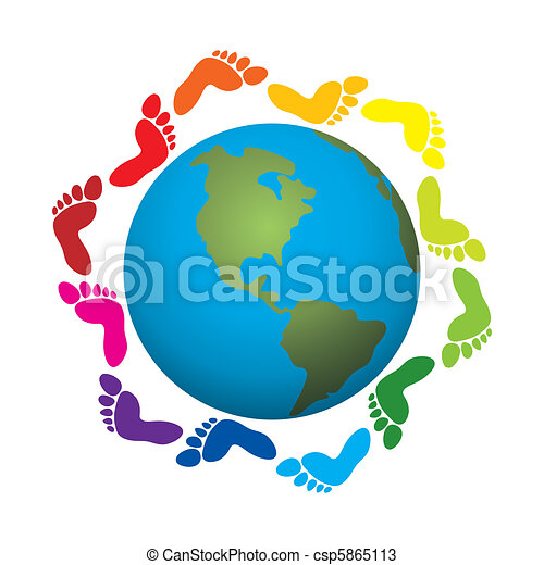 foot prints around the earth - csp5865113