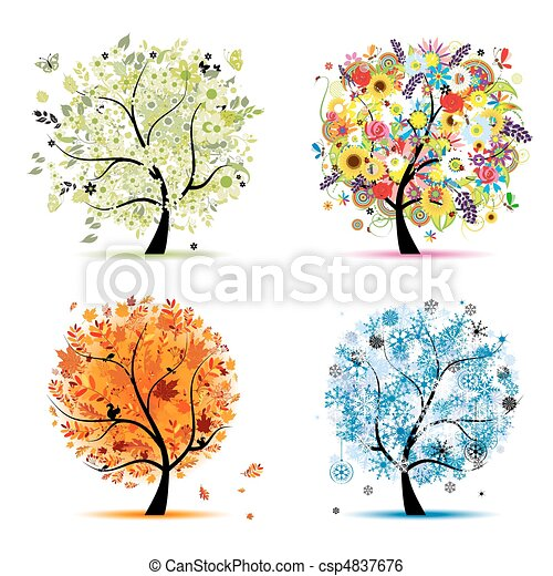 Four seasons - spring, summer, autumn, winter. Art tree beautiful for your design - csp4837676