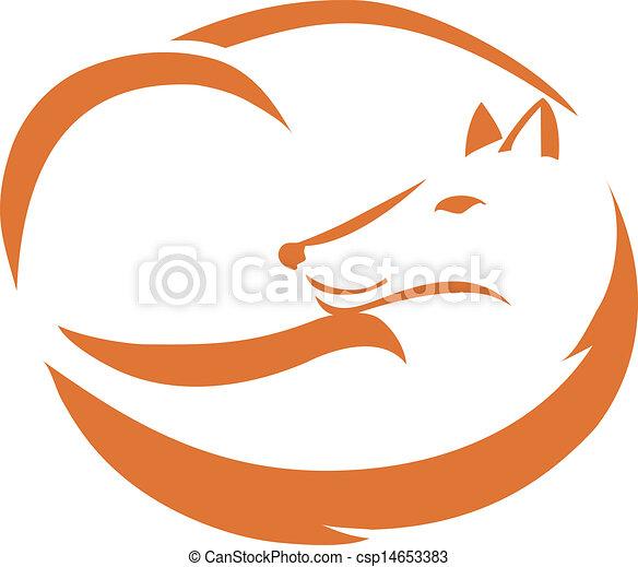 Fox curled up - csp14653383