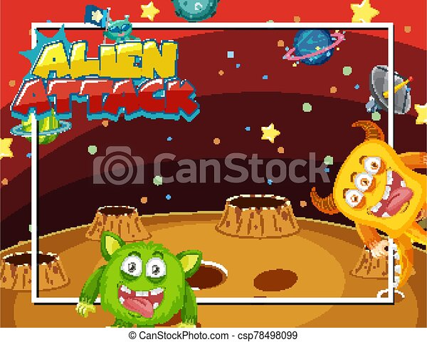 Frame design with aliens in space background - csp78498099