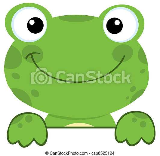 Frog Smiling Over A Sign Board - csp8525124