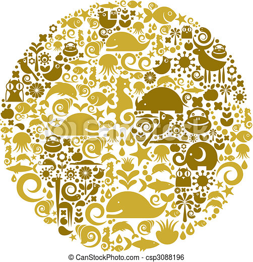Globe outline made from birds, animals and flowers icons - csp3088196