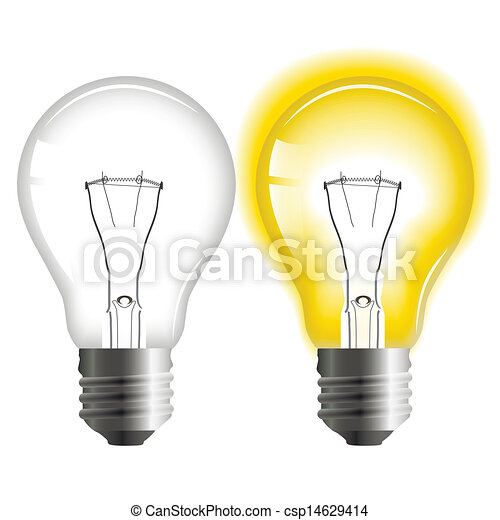 Glowing and turned off light bulb - csp14629414